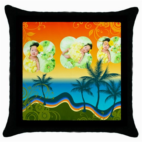 Summer By Summer Time    Throw Pillow Case (black)   S9wtivet3rwy   Www Artscow Com Front