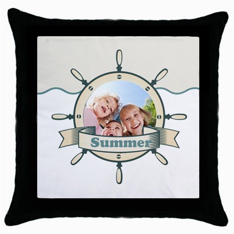 Summer By Summer Time    Throw Pillow Case (black)   Isa8gwpxn1vr   Www Artscow Com Front