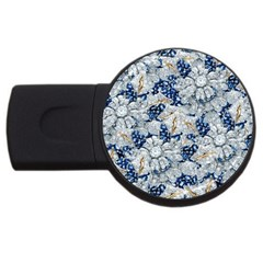 Flower Sapphire And White Diamond Bling 2gb Usb Flash Drive (round) by artattack4all