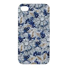 Flower Sapphire And White Diamond Bling Apple Iphone 4/4s Hardshell Case by artattack4all