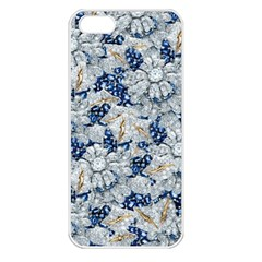 Flower Sapphire And White Diamond Bling Apple Iphone 5 Seamless Case (white) by artattack4all