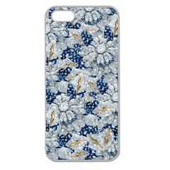 Flower Sapphire And White Diamond Bling Apple Seamless Iphone 5 Case (clear) by artattack4all