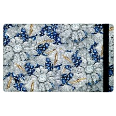 Flower Sapphire And White Diamond Bling Apple Ipad 3/4 Flip Case by artattack4all