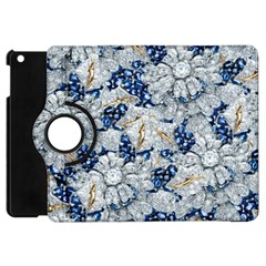Flower Sapphire And White Diamond Bling Apple Ipad Mini Flip 360 Case by artattack4all