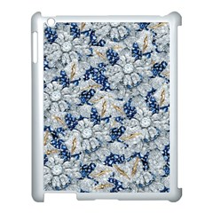 Flower Sapphire And White Diamond Bling Apple Ipad 3/4 Case (white) by artattack4all