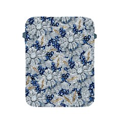 Flower Sapphire And White Diamond Bling Apple Ipad 2/3/4 Protective Soft Case by artattack4all