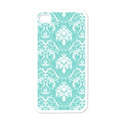 Tiffany Blue And White Damask Apple Iphone 4 Case (white) by eatlovepray
