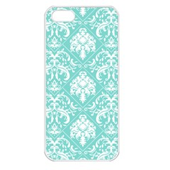 Tiffany Blue And White Damask Apple Iphone 5 Seamless Case (white) by eatlovepray