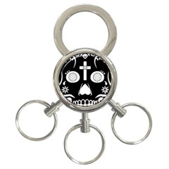Sugar Skull 3-Ring Key Chain by asyrum