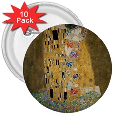 Klimt   The Kiss 3  Button (10 Pack) by ArtMuseum
