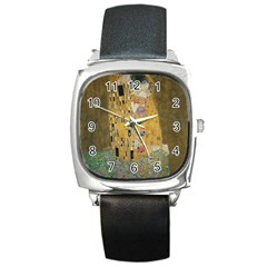 Klimt   The Kiss Square Leather Watch by ArtMuseum