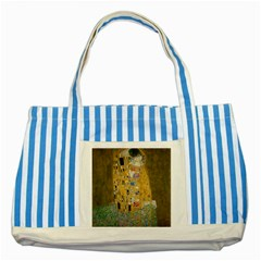 Klimt   The Kiss Blue Striped Tote Bag by ArtMuseum