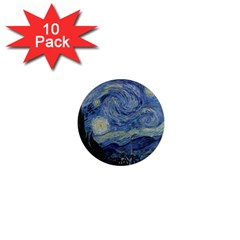 Starry Night 1  Mini Button Magnet (10 Pack) by ArtMuseum