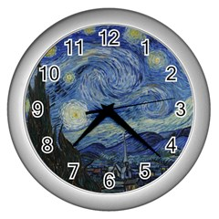 Starry Night Wall Clock (silver) by ArtMuseum