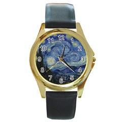 Starry Night Round Metal Watch (gold Rim)  by ArtMuseum
