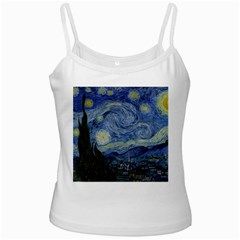Starry Night White Spaghetti Top by ArtMuseum