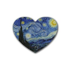 Starry Night Drink Coasters 4 Pack (heart)  by ArtMuseum