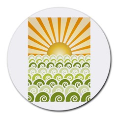 Along The Green Waves 8  Mouse Pad (round) by tees2go
