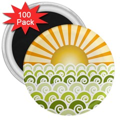 Along The Green Waves 3  Button Magnet (100 Pack) by tees2go