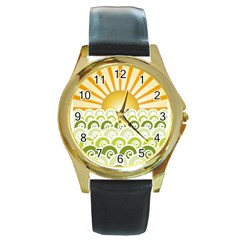 Along The Green Waves Round Metal Watch (gold Rim)  by tees2go