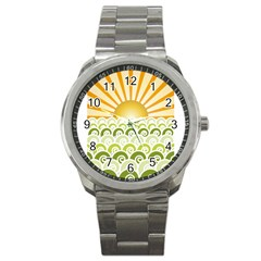 Along The Green Waves Sport Metal Watch by tees2go
