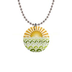 Along The Green Waves Button Necklace by tees2go