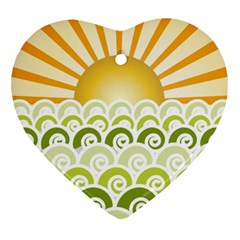 Along The Green Waves Heart Ornament (two Sides) by tees2go