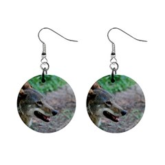 Red Wolf Mini Button Earrings by AnimalLover
