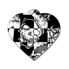 Grunge Skull Dog Tag Heart (Two Sides)