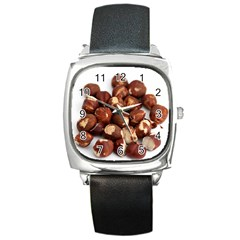 Hazelnuts Square Leather Watch by hlehnerer