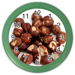 Hazelnuts Wall Clock (color) by hlehnerer