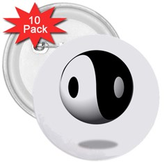 Yin Yang 3  Button (10 Pack) by hlehnerer