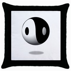 Yin Yang Black Throw Pillow Case by hlehnerer