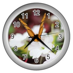Butterfly 159 Wall Clock (silver) by pictureperfectphotography