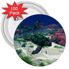 Sea Turtle 3  Button (100 Pack) by gatterwe