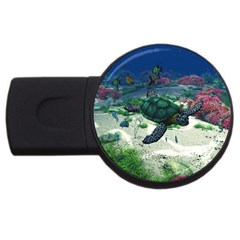 Sea Turtle Usb Flash Drive Round (2 Gb) by gatterwe