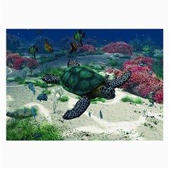 Sea Turtle Glasses Cloth (large, Two Sides) by gatterwe