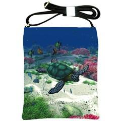 Sea Turtle Shoulder Sling Bag by gatterwe