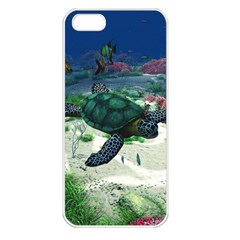 Sea Turtle Apple Iphone 5 Seamless Case (white) by gatterwe