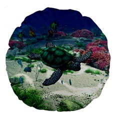 Sea Turtle 18  Premium Round Cushion  by gatterwe