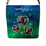 Blue Swirl Messenger Bag - Flap Closure Messenger Bag (L)