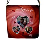 Hearts & Butterfly Messenger Bag - Flap Closure Messenger Bag (Large)
