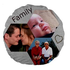 Family 18  Premium Round Cushion By Deborah   Large 18  Premium Round Cushion    Ov8g4w17e5vs   Www Artscow Com Back