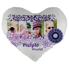 Flower Kids By Joely   Large 19  Premium Heart Shape Cushion   Vp18n5xg4nrs   Www Artscow Com Front