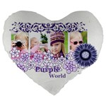 flower kids - Large 19  Premium Heart Shape Cushion