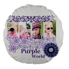 Flower Kids By Joely   Large 18  Premium Round Cushion    8zedhwrpw07d   Www Artscow Com Back