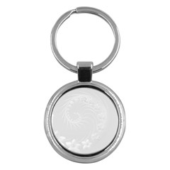 Light Gray Abstract Flowers Key Chain (round) by BestCustomGiftsForYou