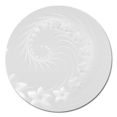 Light Gray Abstract Flowers Magnet 5  (round)