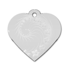 Light Gray Abstract Flowers Dog Tag Heart (two Sided) by BestCustomGiftsForYou