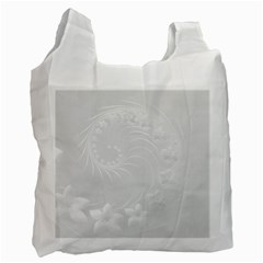 Light Gray Abstract Flowers Recycle Bag (two Sides) by BestCustomGiftsForYou
